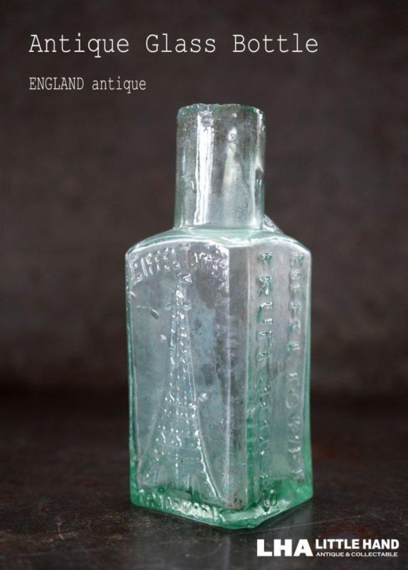 画像1: 【RARE】ENGLAND antique イギリスアンティーク EIFFEL TOWER FRUIT JUICES 素敵な【エッフェル塔】模様 ガラスボトル 瓶 1900's