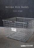 画像1: U.S.A. antique Wire Basket アメリカアンティーク Medart ナンバータグ付き ワイヤーバスケット ワイド型 幅広タイプ 1950-70's  (1)