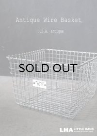 U.S.A. antique Wire Basket アメリカアンティーク Medart ナンバータグ付き ワイヤーバスケット ワイド型 幅広タイプ 1950-70's