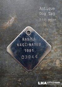 U.S.A. antique Dog Tag アメリカアンティーク ヴィンテージ ドッグタグ 1981's ロゴ入り ナンバープレート ナンバータグ タグ