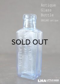 ENGLAND antique BISHOP'S イギリスアンティーク 爽やかなライトブルー ガラスボトル H12cm 瓶 1900-10's