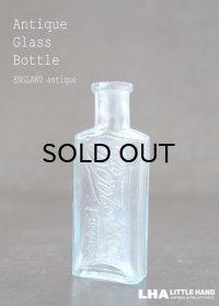 ENGLAND antique イギリスアンティーク 爽やかなブルー 筆記体ロゴが素敵な【Boots】 ガラスボトル H9.4cm ガラス瓶 1920's