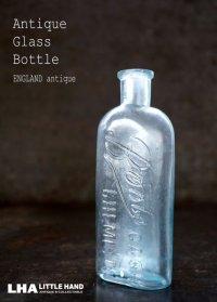 ENGLAND antique イギリスアンティーク 爽やかなブルー 筆記体ロゴが素敵な【Boots】 ガラスボトル H13.6cm ガラス瓶 1920's