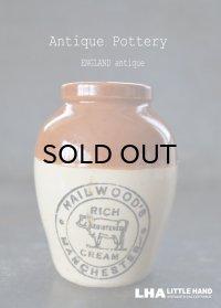 ENGLAND antique イギリスアンティーク COW ツートンカラー HAILWOOD'S (Mサイズ) H9.2cm 陶器ポット 陶器ボトル 瓶 ジャー 1900's