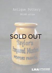 ENGLAND antique イギリスアンティーク TAYLOR'S マスタード 陶器ポット(Sサイズ) H7.5cm 陶器ボトル 1900's