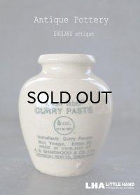 ENGLAND antique green label CUlRRY PASTE イギリスアンティーク カリーペースト H9.6cm 陶器ポット ボトル 1900's