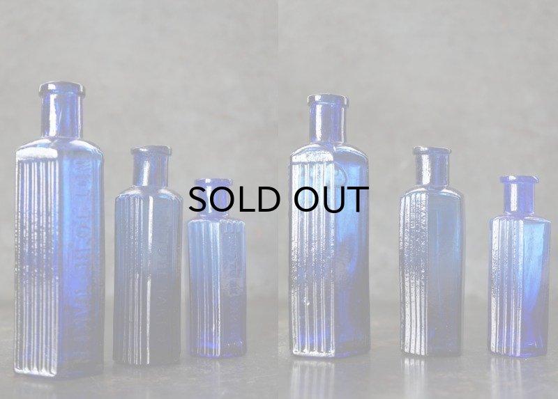画像3: ENGLAND antique イギリスアンティーク NOT TO BE TAKEN 鮮やかなコバルトブルー ガラスボトル 3本セット [3・1.1/2oz・1oz] H12.3-8.5cm ガラス瓶 1900-20's