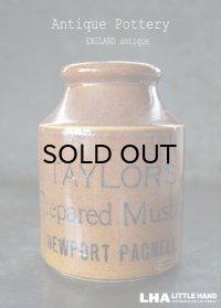 【RARE】ENGLAND antique イギリスアンティーク TAYLOR'S マスタード 陶器ポット(Lサイズ) H13cm 陶器ボトル 1900's