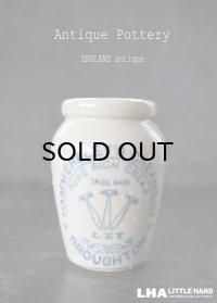 【RARE】ENGLAND antique イギリスアンティーク HAMMERSLEY'S CREAMERY ハンマー ブルーロゴ クリーム陶器ポット(Sサイズ) H7.5cm 1900's
