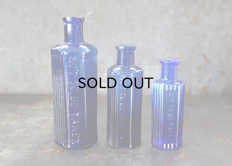 画像2: ENGLAND antique イギリスアンティーク NOT TO BE TAKEN 鮮やかなコバルトブルー ガラスボトル 3本セット [3・1.1/2oz・1oz] H12.3-8.5cm ガラス瓶 1900-20's