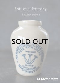 【RARE】ENGLAND antique イギリスアンティーク HAMMERSLEY'S CREAMERY ハンマー ブルーロゴ クリーム陶器ポット(Mサイズ) H9cm 1900's