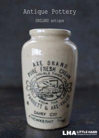【RARE】ENGLAND antique イギリスアンティーク AXE-VALES PURE FRESH CREAM  クリームポット 陶器ポットH11cm 陶器ボトル1 1890-1900's