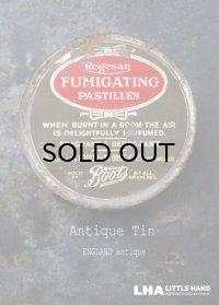 ENGLAND antique イギリスアンティーク Boots FUMIGATING PASTILLES ティン缶 7.2cm ブリキ缶 1920-30's