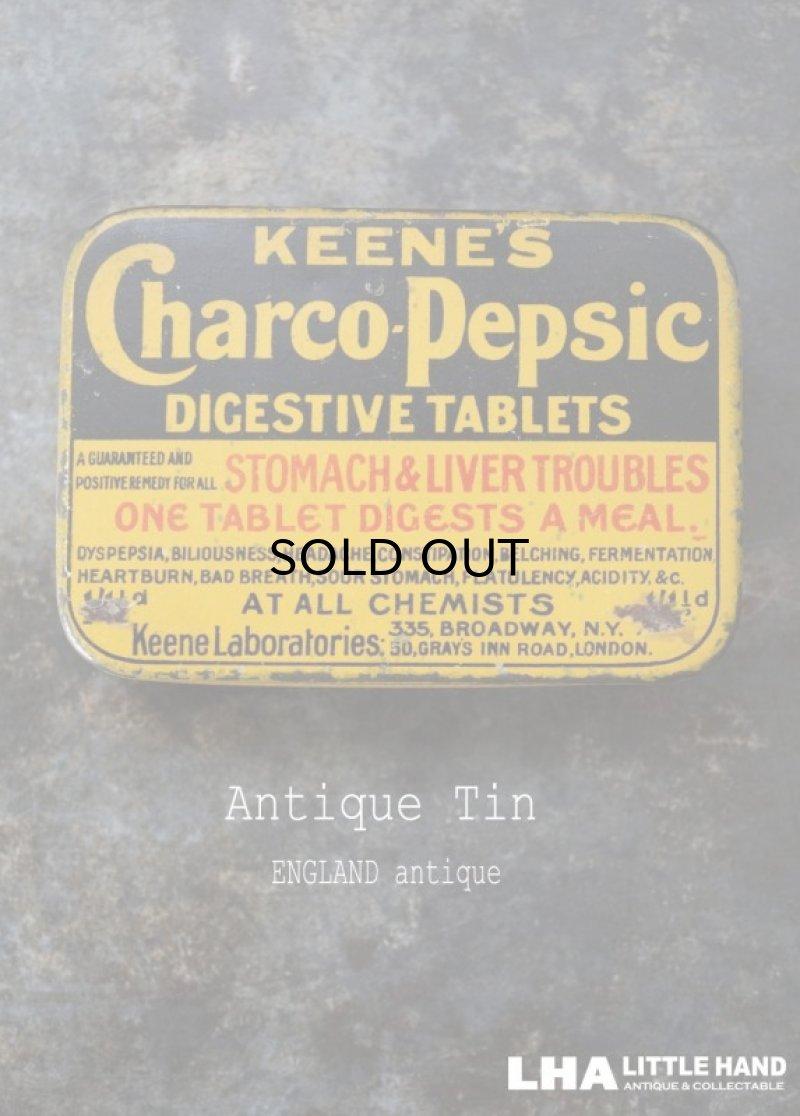画像1: ENGLAND antique イギリスアンティーク KEENE'S Charco pepsic タブレット ティン缶 ブリキ缶 1920-30's