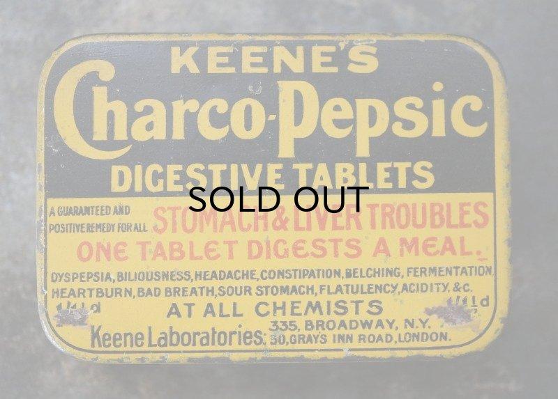 画像2: ENGLAND antique イギリスアンティーク KEENE'S Charco pepsic タブレット ティン缶 ブリキ缶 1920-30's