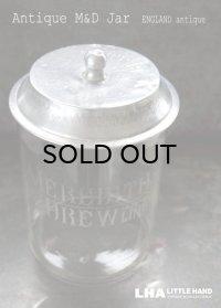 【RARE】 ENGLAND antique イギリスアンティーク MEREDITH & DREW ガラス ビスケットジャー M&D 1910-20's