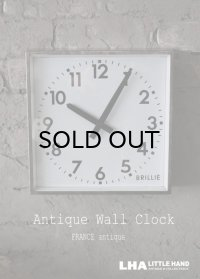 FRANCE antique フランスアンティーク BRILLIE wall clock ブリエ 掛け時計 ヴィンテージ クロック スクエア 28cm 1950's
