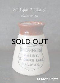 【RARE】ENGLAND antique イギリスアンティーク ツートンカラー SHEPHERD'S DAIRY HALIFAX (Mサイズ)陶器ポット 1900's