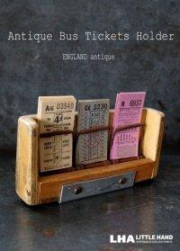 【RARE】ENGLAND antique LONDONイギリスアンティーク バスチケット木製ホルダー&バスチケット 3セット 1930-50's