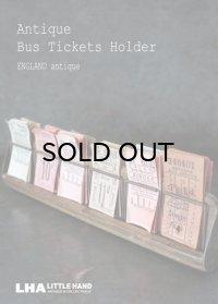 【RARE】ENGLAND antique LONDONイギリスアンティーク バスチケット木製ホルダー&バスチケット 12セット ヴィンテージチケット 1920-50's