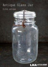 USA antique ATLAS アメリカアンティーク アトラス ジャー ワイヤー付き ガラスジャー (M) ヴィンテージ メイソンジャー 保存瓶 1920-50's