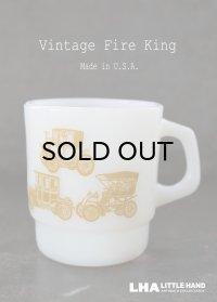 U.S.A. vintage アメリカヴィンテージ 【Fire-king】ファイヤーキング クラシックカー 黄土 マグ マグカップ 1960's