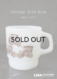 U.S.A. vintage アメリカヴィンテージ 【Fire-king】ファイヤーキング クラシックカー 茶 マグ マグカップ 1960's
