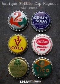 USA antique アメリカアンティーク SODA ボトルキャップ マグネット 6個SET ヴィンテージ 1950-70's