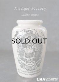ENGLAND antique イギリスアンティーク RICH PRESERVED CREAM クリームポット 陶器ポット 陶器ボトル 1900-20's