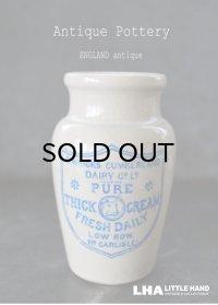 ENGLAND antique イギリスアンティーク CARRICKS CUMBERLAND ブルーロゴ クリーム 陶器ポット H10.6cm 陶器ボトル 1900's