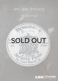 ENGLAND antique イギリスアンティーク BURGESS'S アンチョビペーストジャー 陶器ポット 1885-1900's