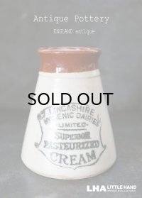 【RARE】ENGLAND antique イギリスアンティーク ツートンカラー SUPERIOR PASTEURIZED CREAM (Mサイズ)陶器ポット 1900's