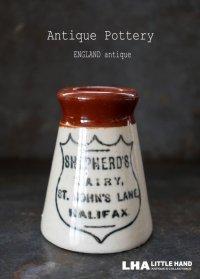 【RARE】ENGLAND antique イギリスアンティーク ツートンカラー SHEPHERD'S DAIRY HALIFAX (Sサイズ)陶器ポット 1900's
