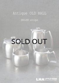 ENGLAND antique OLD HALL Connaught イギリスアンティーク オールドホール 4点セット ティーポット 1.5pt & コーヒーポット 1.5pt &ミルクジャグ&シューガーポット ヴィンテージ1950's