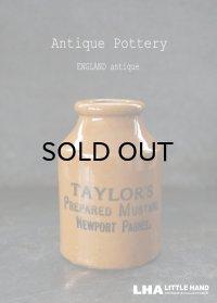ENGLAND antique イギリスアンティーク Taylor's マスタード 陶器ポット(Mサイズ) 陶器ボトル 1900's