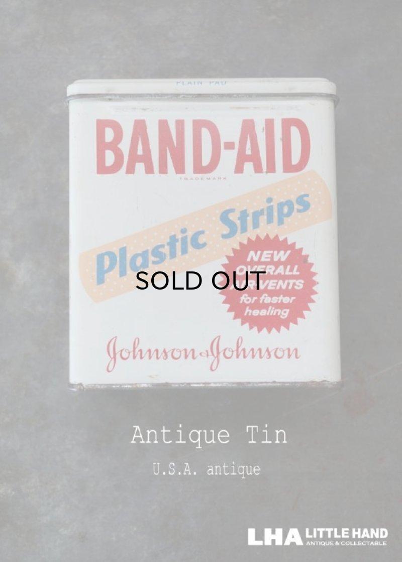 画像1: USA antique アメリカアンティーク ジョンソン&ジョンソン BAND-AID バンドエイド缶 ヴィンテージ ブリキ缶 缶 1950-60's
