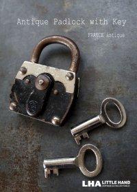 FRANCE antique フランスアンティーク 刻印入 パドロック 鍵付 ヴィンテージ 南京錠 1940-60's