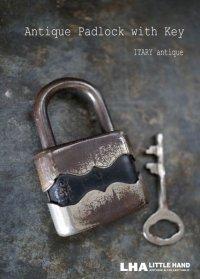ITARY antique イタリアアンティーク 刻印入 パドロック 鍵付 ヴィンテージ 南京錠 1940-60's