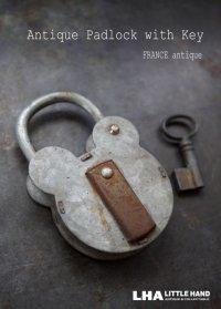FRANCE antique フランスアンティーク クマ型 パドロック 鍵付 ヴィンテージ 南京錠 1930-60's