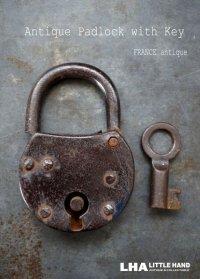 FRANCE antique フランスアンティーク パドロック 鍵付 ヴィンテージ 南京錠 1920-40's