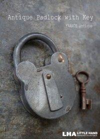 FRANCE antique クマ型 渋い大きな パドロック 鍵付 1900-1930's