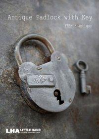 FRANCE antique フランスアンティーク クマ型 パドロック 鍵付 ヴィンテージ 南京錠 1940-60's