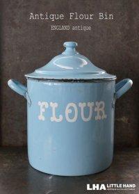 【RARE】ENGLAND antique イギリスアンティーク ホーロー 花文字・ドーム蓋・リベット フラワー缶 FLOUR 1920-30's