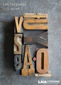 U.S.A. antique アンティーク木製プリンターブロック【10個】 H6.3cm〜H3.4cm スタンプ はんこ 1930-60's