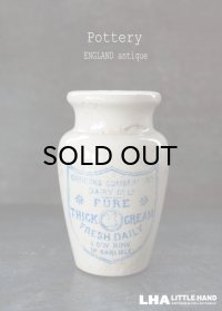 ENGLAND antique イギリスアンティーク CARRICKS CUMBERLAND ブルーロゴ クリーム 陶器ポット 陶器ボトル 1900's