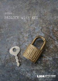U.S.A.antique アメリカアンティーク 刻印入 小さなパドロック 鍵付 ヴィンテージ 南京錠 1940-60's