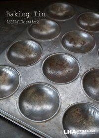 AUSTRALIA antique オーストラリアアンティーク ベーキングティンモールド 12穴  焼き型 菓子型 マフィン 1930-50's