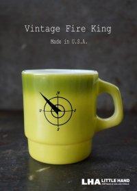U.S.A. vintage アメリカヴィンテージ 【Fire-king】 ファイヤーキング ノースウエストバンク 緑・黄緑 マグ マグカップ 1960's