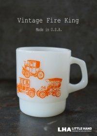 U.S.A. vintage アメリカヴィンテージ 【Fire-king】ファイヤーキング クラシックカー 橙 マグ マグカップ 1960's