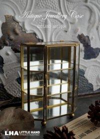 ENGLAND antique イギリスアンティーク ガラスジュエリーケース ジュエリーボックス 真鍮 アクセサリーケース ディスプレイケース 1920-1940's